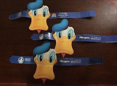 Vintage Disney Donald Duck Delta Airlines Visor Hat  Giveaway lot of 3