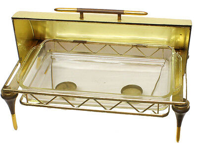 """VINTAGE HOLLYWOOD REGENCY JAMES MONT STYLE BRASS CHAFING DISH GLASS PLATE 17"""""""