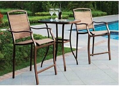 Bistro Set 3 Piece High Bar Table Chair  Outdoor Patio Furniture Deck Pool