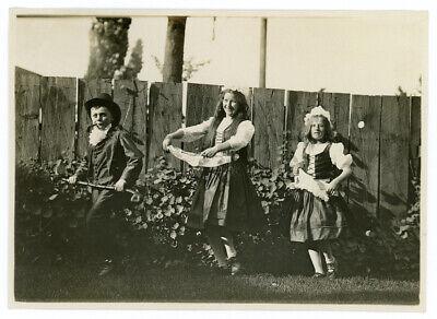 Antique Photo Traditional Costume Children Boy Smoking Pipe School Halloween Odd