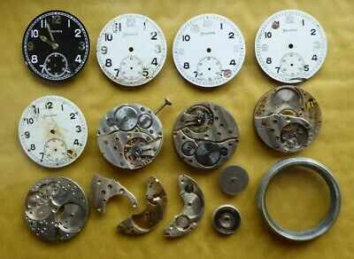 Helvetia pocket watch parts, General Watch Co, calibre 32A, condition as shown.