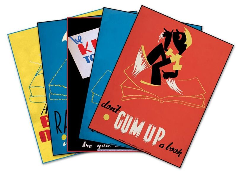 """SET of FIVE (5) US Library Book Posters Vintage WPA Prints circa 1936 - 18""""x 24"""""""