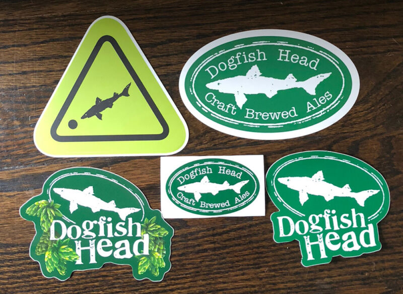 Dogfish Head Brewing ~ Beer Stickers ~ Beer Decals ~ Craft Brewed Ales~ Lot Of 5