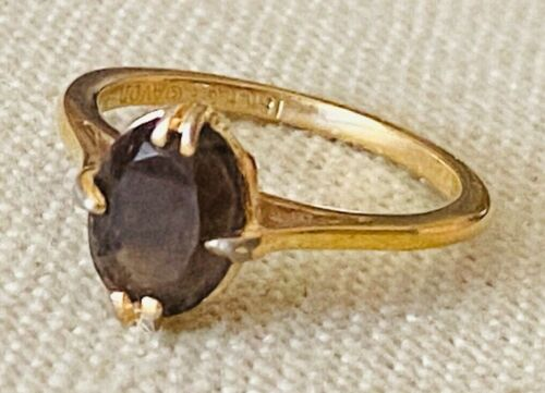 AVON Solitaire Smoky Topaz Colored Stone Gold Tone Ring Size 7 ~18K Electroplate