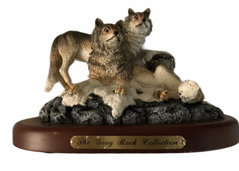 3 Gray Wolf Ceramic Bust Statue Figurine The Gray Rock Collection Amy and Addy
