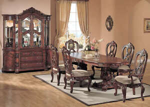 Apache 9 piece formal dining room set china cabinet new ebay for Formal dining room sets with china cabinet