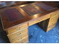 Large pedestal desk...leather inlaid top...