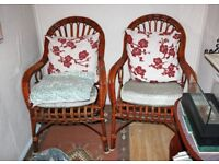 2 Conservatory Summer House Room Wicker Chairs