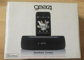Gear4 Street Party Compact portable speaker for iPhone and iPad.