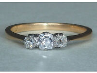 Diamond trilogy ring - size L - elegant classic style, set in platinum (valued at £1,250)