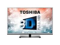"""46"""" toshiba LED slim 3D full HD tv with freeview HDMI USB and remote"""