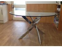 Contemporary Glass Top Dining Table Cluster base 130cm