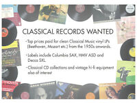 Classical Record Collections Wanted - Cash paid for clean vinyl LPs.