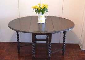 Vintage Solid Oak Occasional Drop-Leaf Table with Barley Twist leg detail.