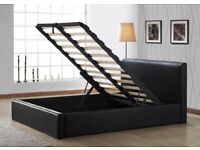 DESIGNER FURNITURE -DOUBLE AND KING SIZE LEATHER STORAGE BED FRAME w OPT MATTRESS-CALL NOW