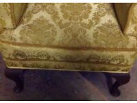 Gold/vintage winged back chair,slight tear,ideal shabby chic project or just repair