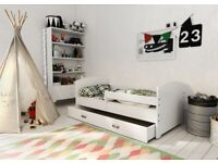 Wooden Storage Slatted Bed Frame with Mattress 80x160 Child Toddler Kid Bedroom