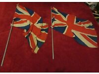Two Vintage Union Jack Flag Poles