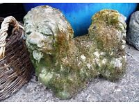 Beautiful Old Stone Garden Ornaments - Frog Bird Bath & Dog Statues