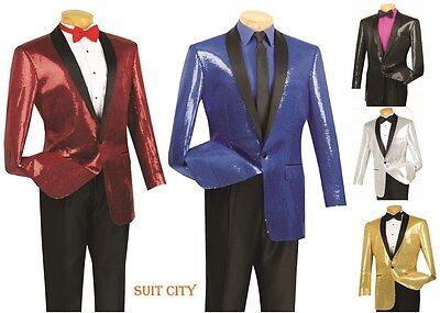 Men's Tuxedo Blazer Sequins Sport Coat One Button Single Breasted Shawl Collar - One Button Single Breasted Blazer