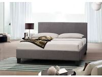 BRAND NEW DOUBLE GREY FABRIC BED WITH FREE MATTRESS £99
