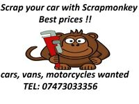 WE BUY SCRAP CARS!! SELL YOUR CAR!! CASH FOR CARS!!