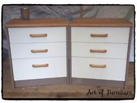 A Pair of Solid Wooden Bedside Tables Hand Painted in ANNIE SLOAN Cocco & Old White Chalk Paint.