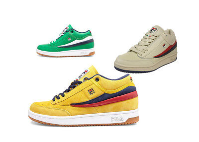 Fila Men's T-1 Tennis Sneakers Classic 80s Style Shoes Retro Green Yellow Cap  ()