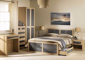 Julian Bowen Strada Double Bed Frame, Light Oak Finish & Gloss Insert - 2 free under bed draws
