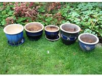 Collection of blue ceramic pots