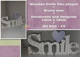 Wooden Smile lilac plaque
