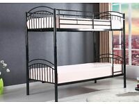 *BRAND NEW*-STRONG- LONDON METAL BUNK BED FOR JUST £89 *AVAILABLE IN WHITE, BLACK & SILVER*