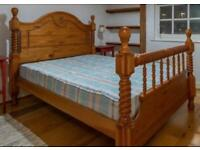 King size bed - solid oak - mattress included