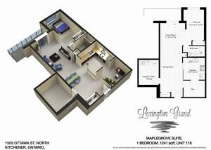 Luxury 1+Den - 1241 Sq.Ft!  In-suite laundry, 9 ft. ceilings Kitchener / Waterloo Kitchener Area image 7
