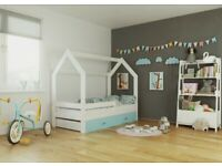 Children Toddler Junior House Bed Frame 80x160 Mattress Storage Drawer Slatted