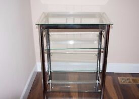 4-Tier Clear Glass Table Stainless Steel Legs Hall Table Modern