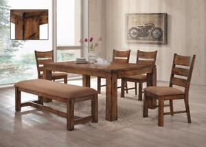 LODGE - 6PC DINING ROOM SET (TABLE WITH 4 CHAIRS AND A BENCH)