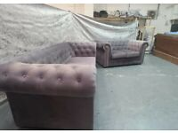 == NEW LAUNCHED == BRAND NEW UK MANUFACTURED CHESTERFIELD PLUSH VELVET SOFA SET