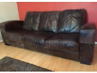 Leather 3 seat sofa Dark Brown Excellent condition (all reasonable offers considered)