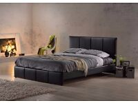 UPTO 60% OFF:: DOUBLE LEATHER BED WITH ORTHOPEDIC MATTRESS JUST £139 CALL NOW FOR FREE DELIVERY