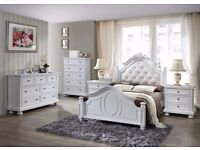 5 Piece brand new solid wood bedroom set bed frame double with dresser tallboy & 2 bedsides white