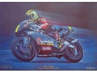 colour print of Motorbike a racing Legend ~ excellent condition and signed