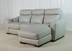Designer Grey Leather 3 Seater Lounger sofa (65) £599
