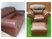 Brown leather 3 seater sofa chair & pouffe
