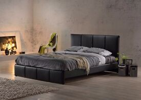 STRONG ONE DOUBLE LEATHER BED WITH ORTHOPAEDIC MATTRESS !!SAME DAY CASH ON DELIVERY