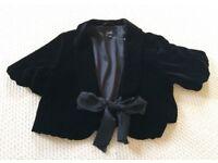 HOBBS ladies black velvet bolero jacket size 10