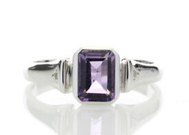 ***£1,140.00*** UNUSED - Certified by GIE 9ct White Gold Amethyst