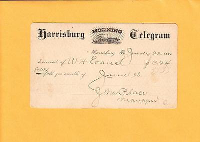 Newspaper Harrisburg Morning Telegram 1889 Printing Press Logo Postal Card  J