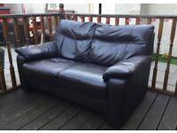 Very dark brown leather settee.
