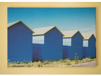 New Beach huts colourful Canvas print 40cm x 60cm never used